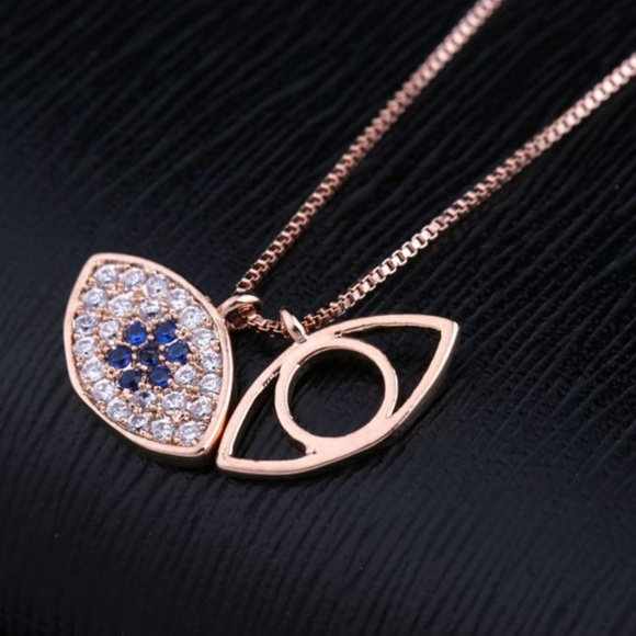 NWT Rose Gold Evil Eye Protection Necklace nwt NWT